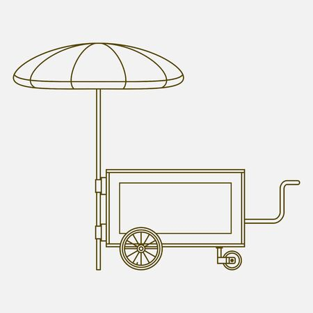 Editable Mobile Mini Food Cart Vector Illustration with Umbrella in Outline Style 向量圖像