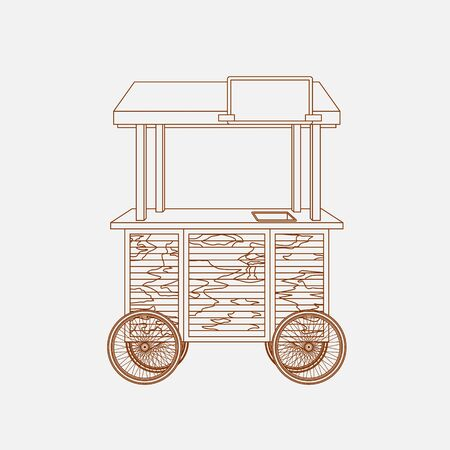 Editable Mobile Mini Wooden Food Cart Vector Illustration in Outline Style