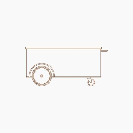 Editable Mobile Mini Simple Food Cart Vector Illustration in Outline Style