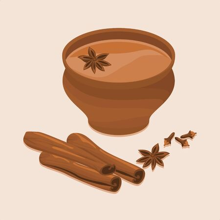 Editable Indian Masala Chai in Pottery Cup with Assorted Herb Spices 向量圖像