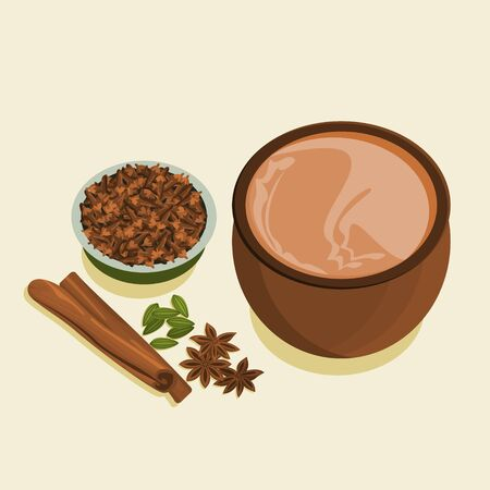 Editable Indian Masala Chai with a Bowl of Cloves and Other Assorted Herb Spices 向量圖像
