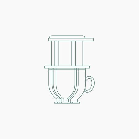 Editable Isolated Vietnamese Drip Coffee Brewing Vector Illustration in Outline Style
