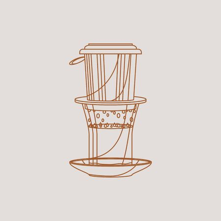 Editable Isolated Vietnamese Drip Coffee in Outline Style Vector Illustration 向量圖像