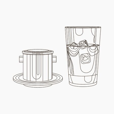 Editable Vietnamese Drip Iced Coffee Vector Illustration in Outline Style