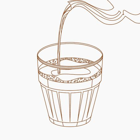 Editable Indian Masala Chai Pouring Vector Illustration in Outline Style