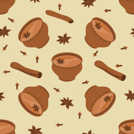 Editable Seamless Pattern of Indian Masala Chai in Pottery Cup with Assorted Herb Spices 向量圖像