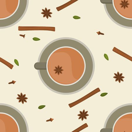 Editable Top View Indian Masala Chai with Assorted Herb Spices Vector Illustration Seamless Pattern