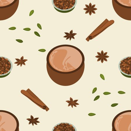 Editable Vector Illustration Seamless Pattern of Indian Masala Chai in Pottery Cup with Assorted Herb Spices