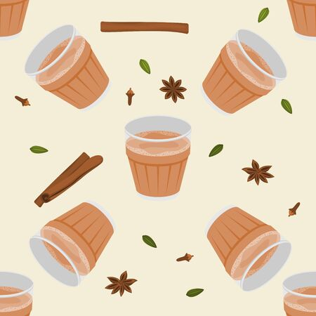 Editable Vector Illustration Seamless Pattern of Indian Masala Chai in Glass Mug with Assorted Herb Spices
