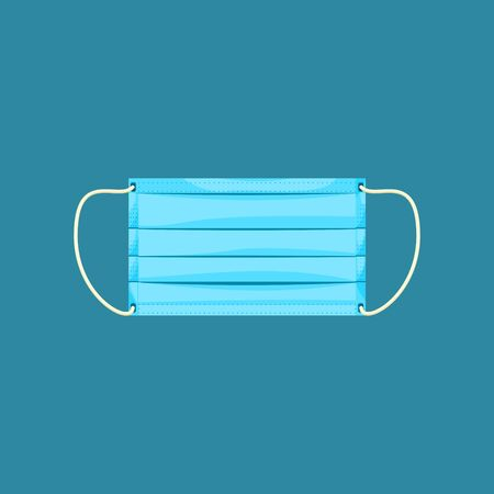Editable Isolated Rectangle Medical Mask Vector Illustration