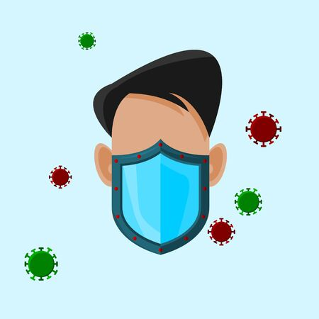 Editable Isolated Vector Illustration of a Male Character Using Mask as Shield from Viruses