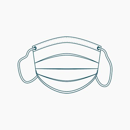 Editable Isolated Shaped Medical Mask Vector Illustration in Outline Style 向量圖像