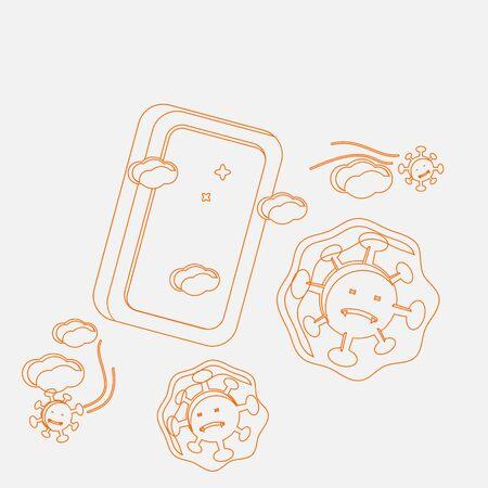 Editable Vector Illustration of Bar Soap Work Against Coronavirus in Outline Style