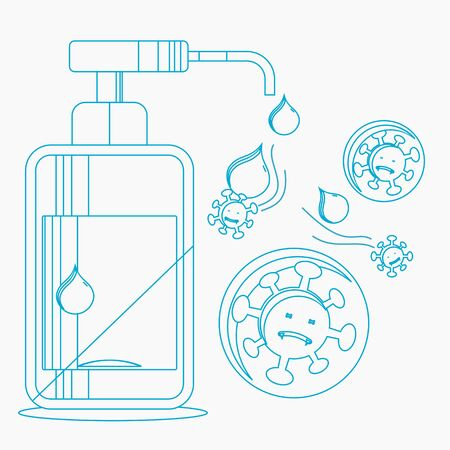 Editable Vector Illustration of Hand Sanitizer Work Against Coronavirus in Outline Style