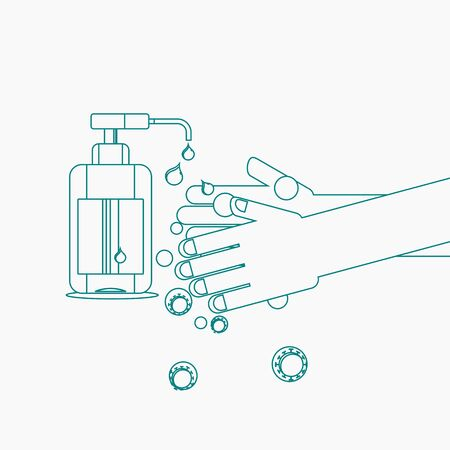 Editable Vector Illustration of Sanitizing Hands in Outline Style