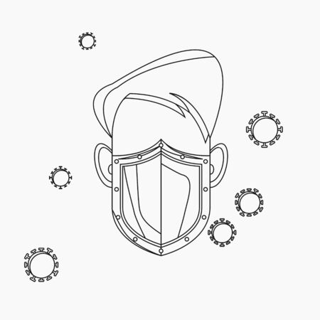 Editable Isolated Vector Illustration of a Male Character Using Mask as Shield from Viruses in Outline Style