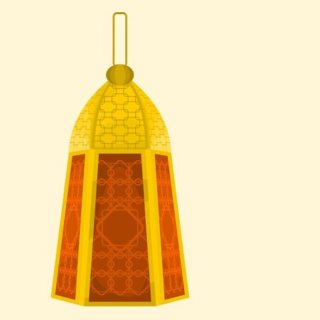 Editable Isolated Standing Arabian Ramadan Lamp Vector Illustration