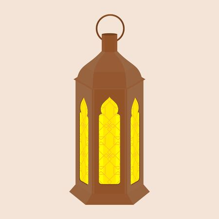 Editable Standing Arabian Ramadan Lamp Isolated Vector Illustration