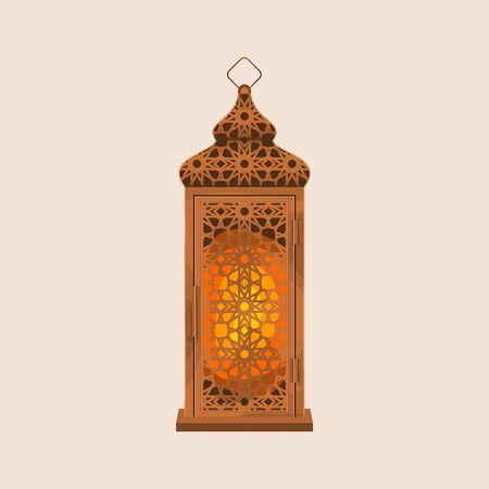 Editable Standing Ramadan Arabian Lamp Isolated Vector Illustration