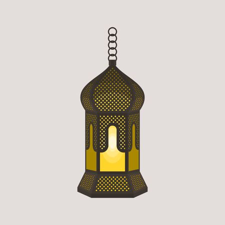 Editable Hanging Arabian Ramadan Lamp Isolated Vector Illustration