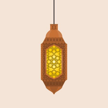 Editable Hanging Ramadan Arabian Lamp Isolated Vector Illustration