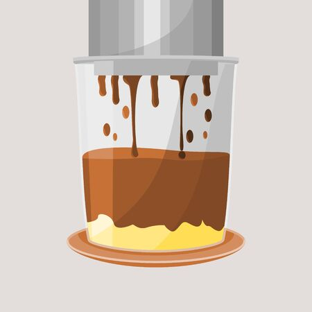 Editable Isolated Dripping Vietnamese Coffee with Condensed Milk Vector Illustration