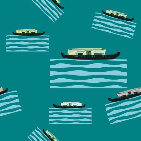 Editable Kerala Houseboat Backwater Seamless Pattern 向量圖像