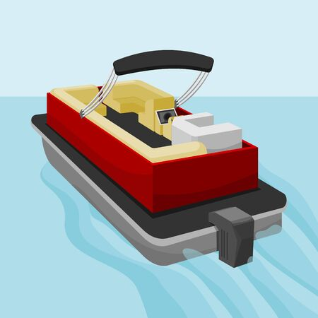 Editable Empty American Pontoon Boat on a Lake Vector Illustration