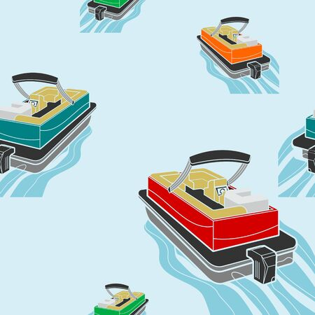 Editable American Pontoon Boat Vector Illustration Seamless Pattern