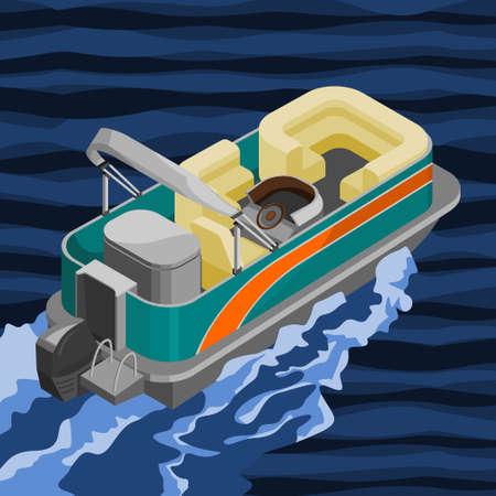 Editable Empty Isometric-like American Pontoon Boat on a Wavy Lake Vector Illustration