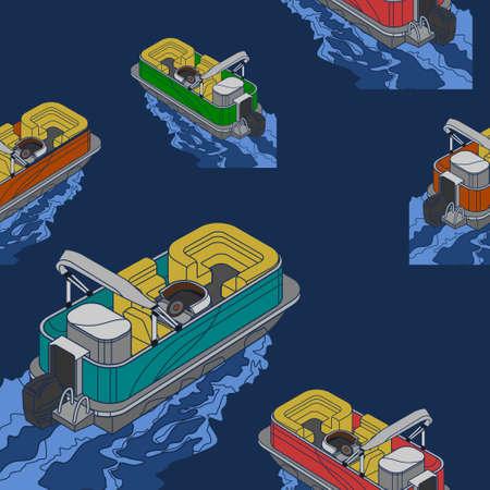 Editable Empty Isometric-like American Pontoon Boat on Wavy Lake Vector Illustration Seamless Pattern