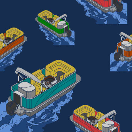 Editable Empty Isometric-like American Pontoon Boat on Wavy Lake Vector Illustration Seamless Pattern