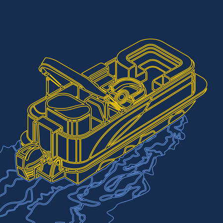 Editable Empty Isometric-like American Pontoon Boat on a Wavy Lake Vector Illustration in Outline Style