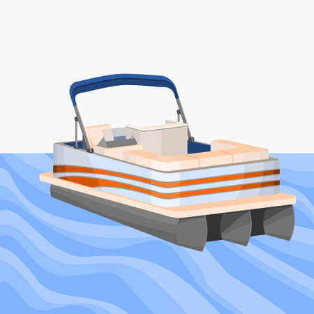 Editable Empty Three-Quarter View American Pontoon Boat on a Wavy Lake Vector Illustration