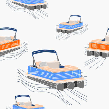 Editable Empty Three-Quarter View American Pontoon Boat on Wavy Lake Vector Illustration Seamless Pattern 向量圖像