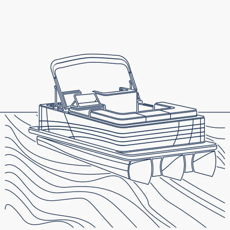 Editable Empty Three-Quarter View American Pontoon Boat on a Wavy Lake Vector Illustration in Outline Style