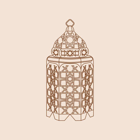 Editable Isolated Standing Arabian Lamp Vector Illustration in Outline Style