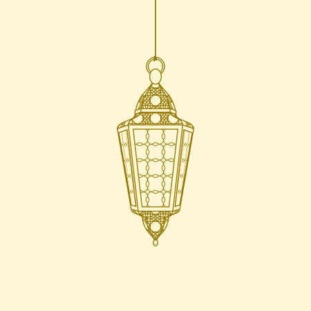 Editable Isolated Hanging Arabian Lamp Vector Illustration in Outline Style