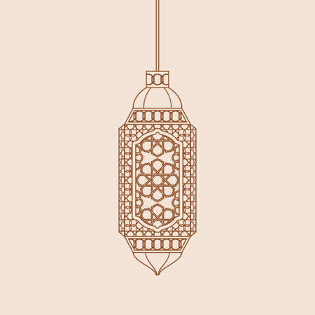 Editable Hanging Arabian Lamp Isolated Vector Illustration in Outline Style