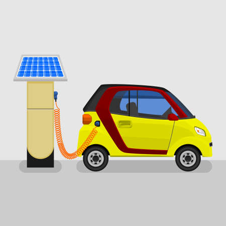 Editable Solar Energy Electric Car Charging Vector Illustration for Futuristic Vehicle Industry Campaign