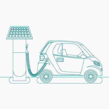 Editable Solar Energy Electric Car Charging Vector Illustration in Outline Style 向量圖像