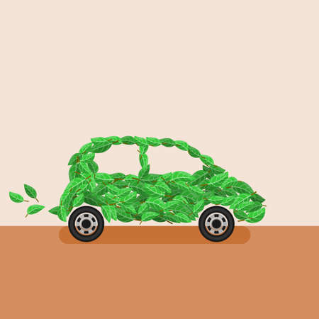Editable Leaves Vector Illustration as Car for Eco-Friendly Renewable Energy Campaign