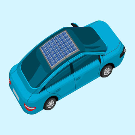 Editable Isolated Three-Quarter Top View Electric Car With Solar Panel for Futuristic Eco-Friendly Renewable Energy Campaign