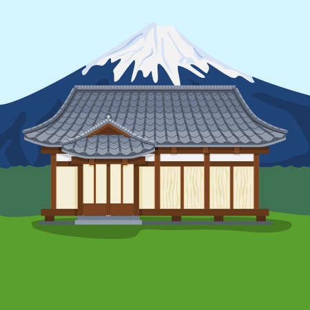 Editable Traditional Japanese House Vector Illustration with Mount Fuji Background for Tourism and Culture or History Education