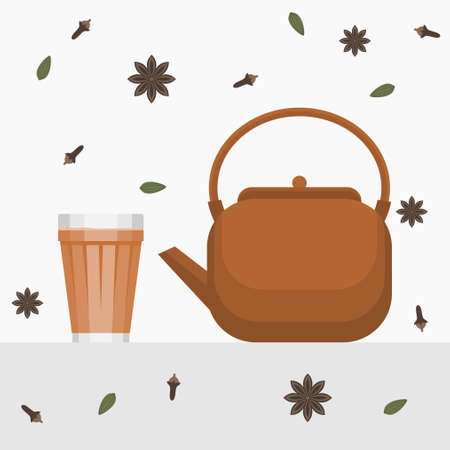 Editable Indian or Pakistani Masala Chai Tea in A Glass Mug and Pottery Kettle Vector Illustration with Ingredients Pattern Ilustração