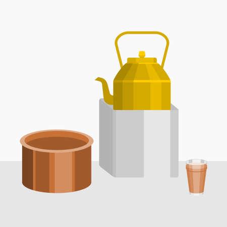 Editable Indian or Pakistani Masala Chai Tea in A Glass Mug with Metal Kettle on Stove and Saucepan Vector Illustration Banco de Imagens - 155422860