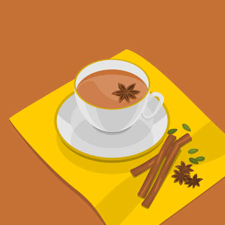 Editable Three-Quarter Top View Vector Illustration of a White Cup of Masala Chai upon a Yellow Napkin with Star Anise Topping and Other Herb Spices Illustration