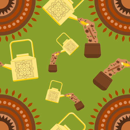 Editable Vector Illustration Seamless Pattern of Side View Pouring Masala Chai and Its Ingredients from Patterned Metal Kettle into Pottery Cup with Indian Circle Motif Illustration