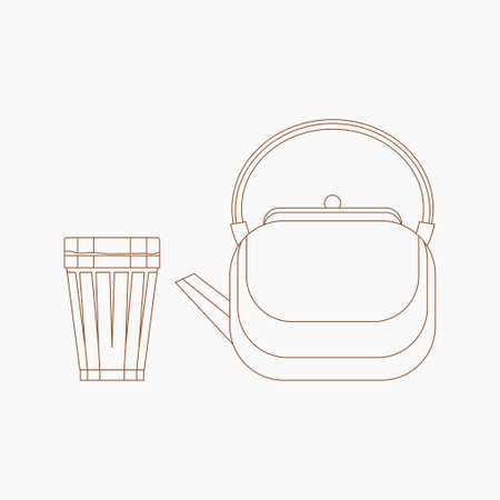 Editable Side View Masala Chai Tea in A Glass Mug and Kettle Vector Illustration in Outline Style