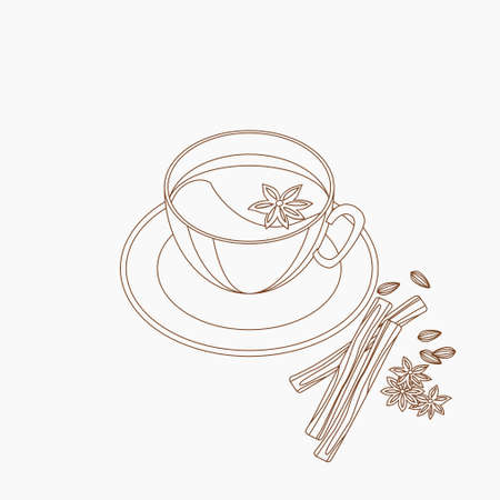 Editable Three-Quarter Top View a Cup of Masala Chai with Star Anise Topping and Other Herb Spices Vector Illustration in Outline Style